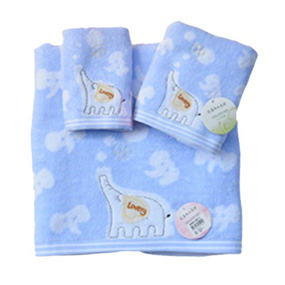 貝柔 Peilou - 無捻紗大象柔棉浴巾-粉藍 (140x70cm)