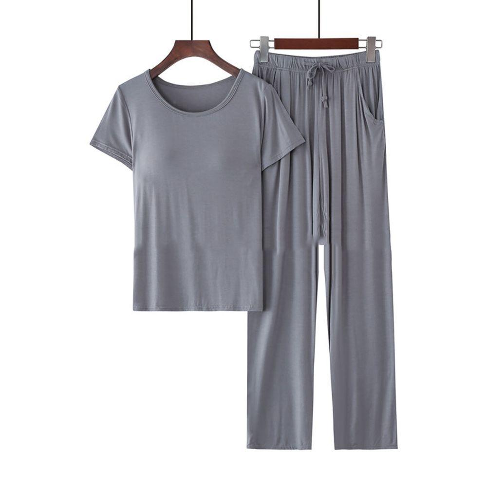 莫代爾柔軟涼感Bra T家居服-長褲套裝-深灰色