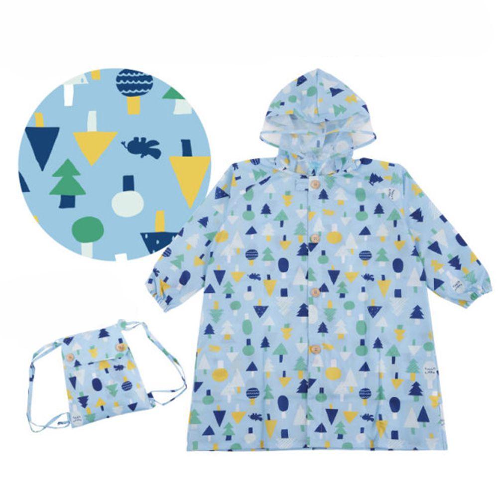 日本 kukka hippo - 小童雨衣(附收納袋)-藍綠森林