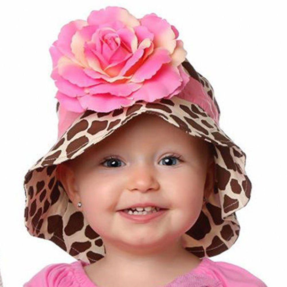 美國 Fancy That Hat - 大花抗UV防曬遮陽帽-長頸鹿紋/粉橘玫瑰
