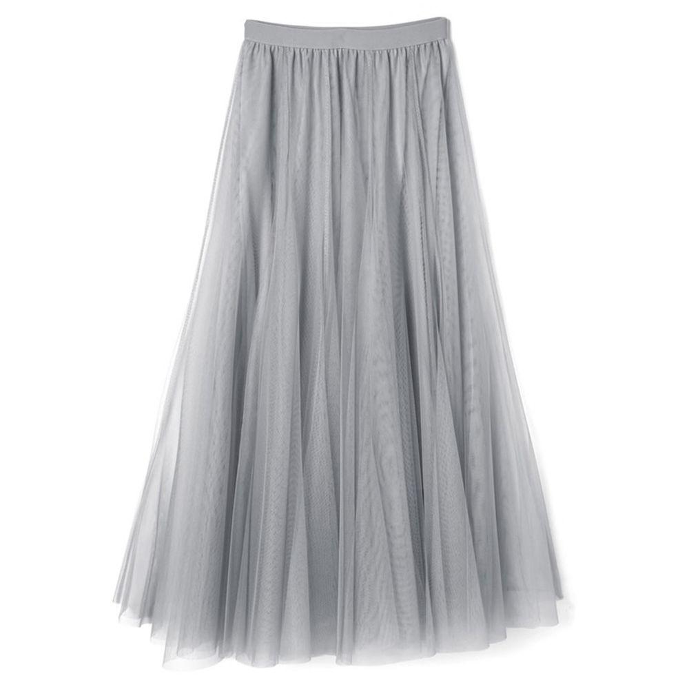 日本 GRL - 飄逸顯瘦雙層傘紗裙-銀灰藍 (M)
