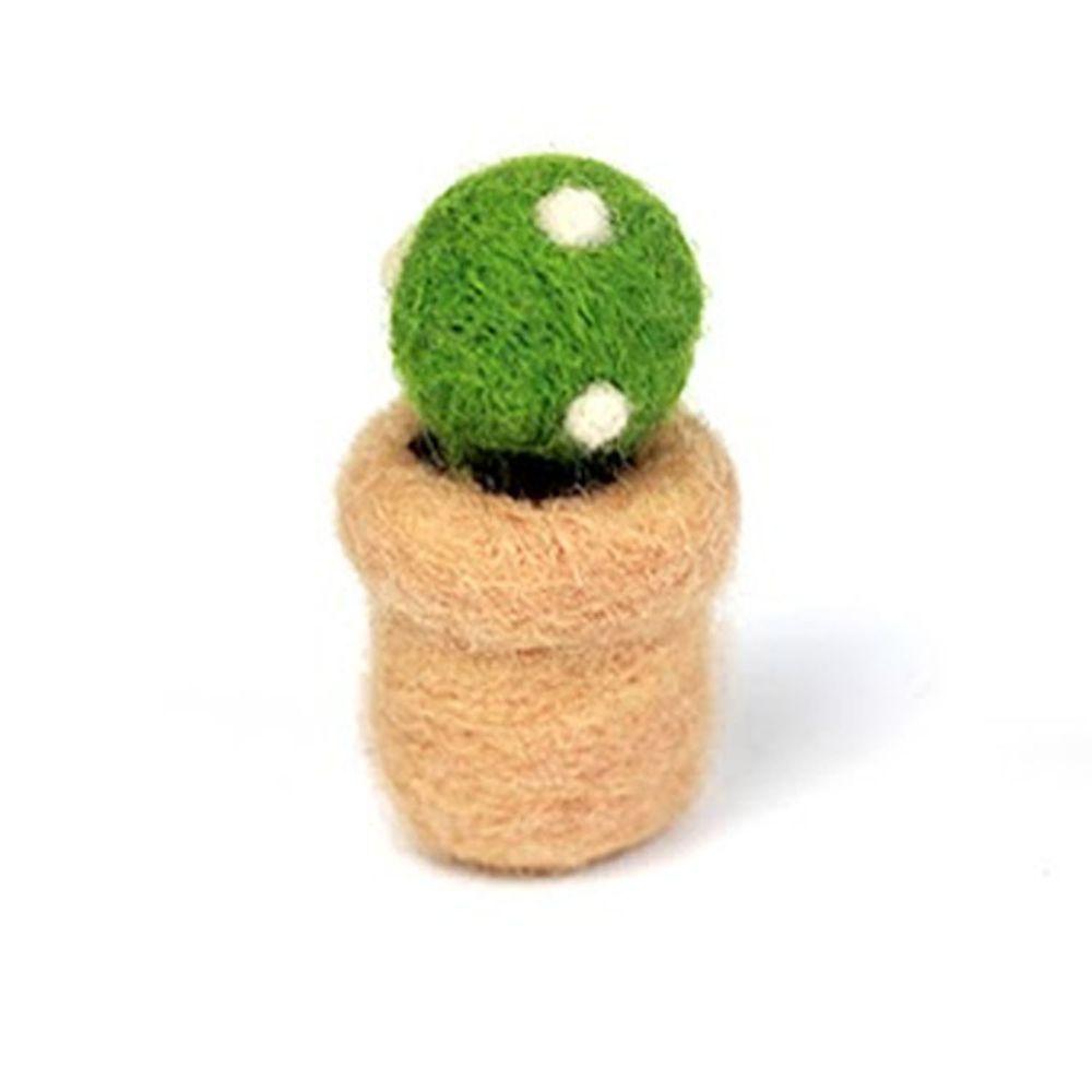 Diy植物造型羊毛氈戳戳樂材料包-白點仙人球