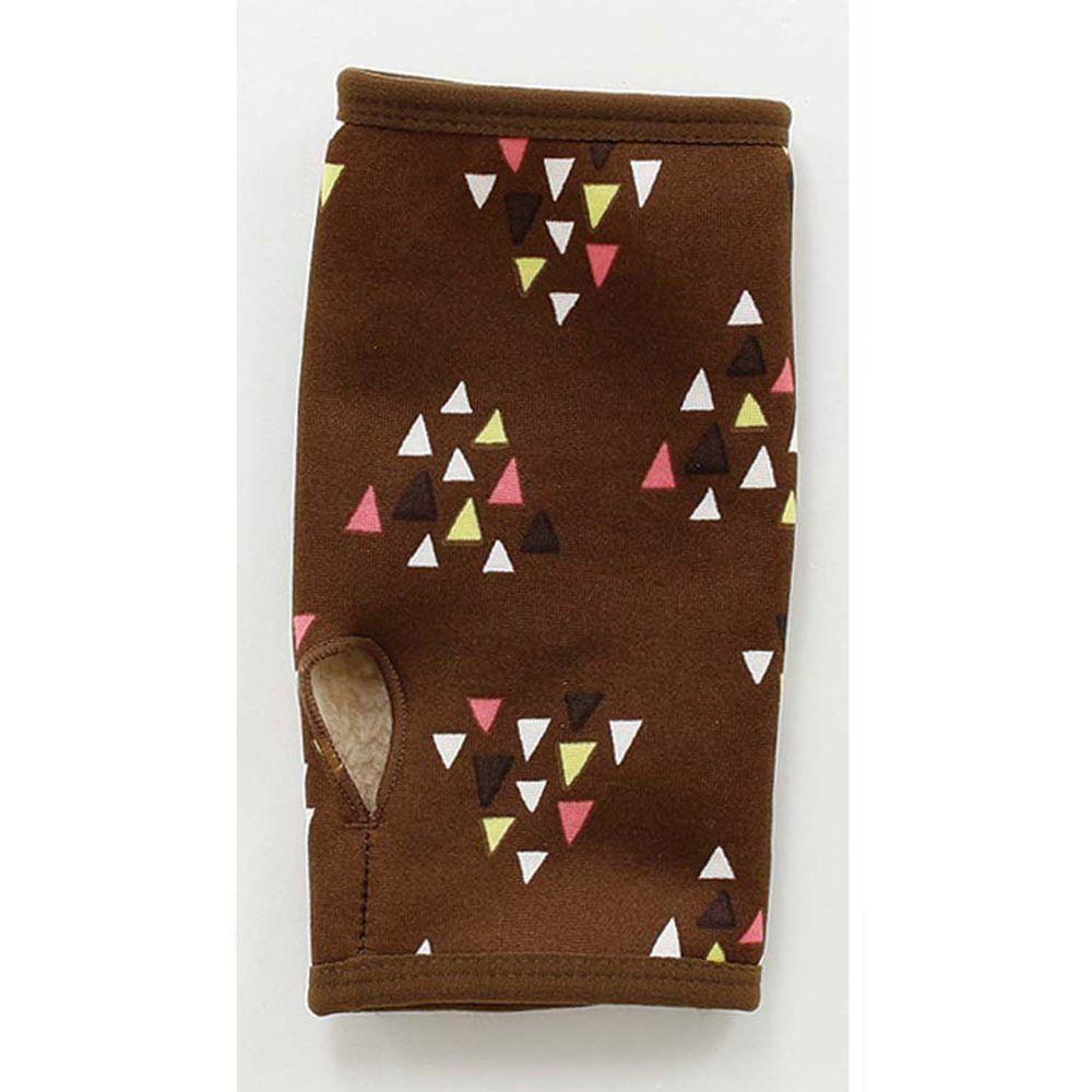 日本丸和 - 雙層機能裏起毛保暖半截手套-三角幾何-咖啡