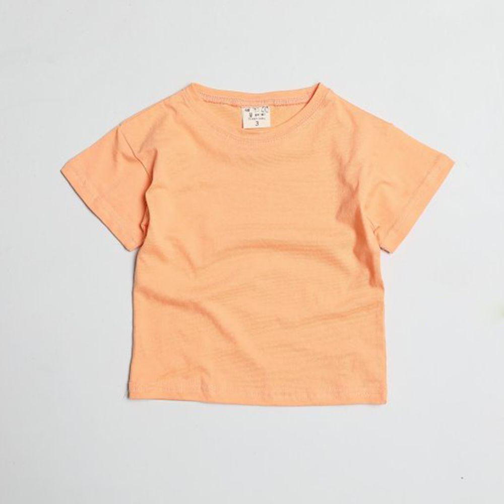 韓國製 - 水洗加工布糖果色純棉T-橘