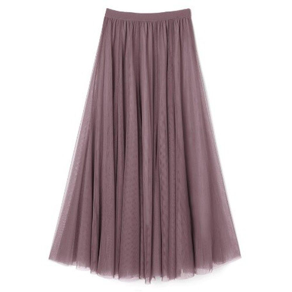 日本 GRL - 飄逸顯瘦雙層傘紗裙-深藕粉 (M)
