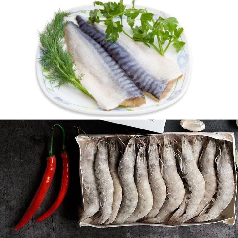 Camaron卡馬龍 - 美洲白晶蝦 30/40 規格-大 1 公斤+頂級挪威薄鹽鯖魚片 160 公克/ 片