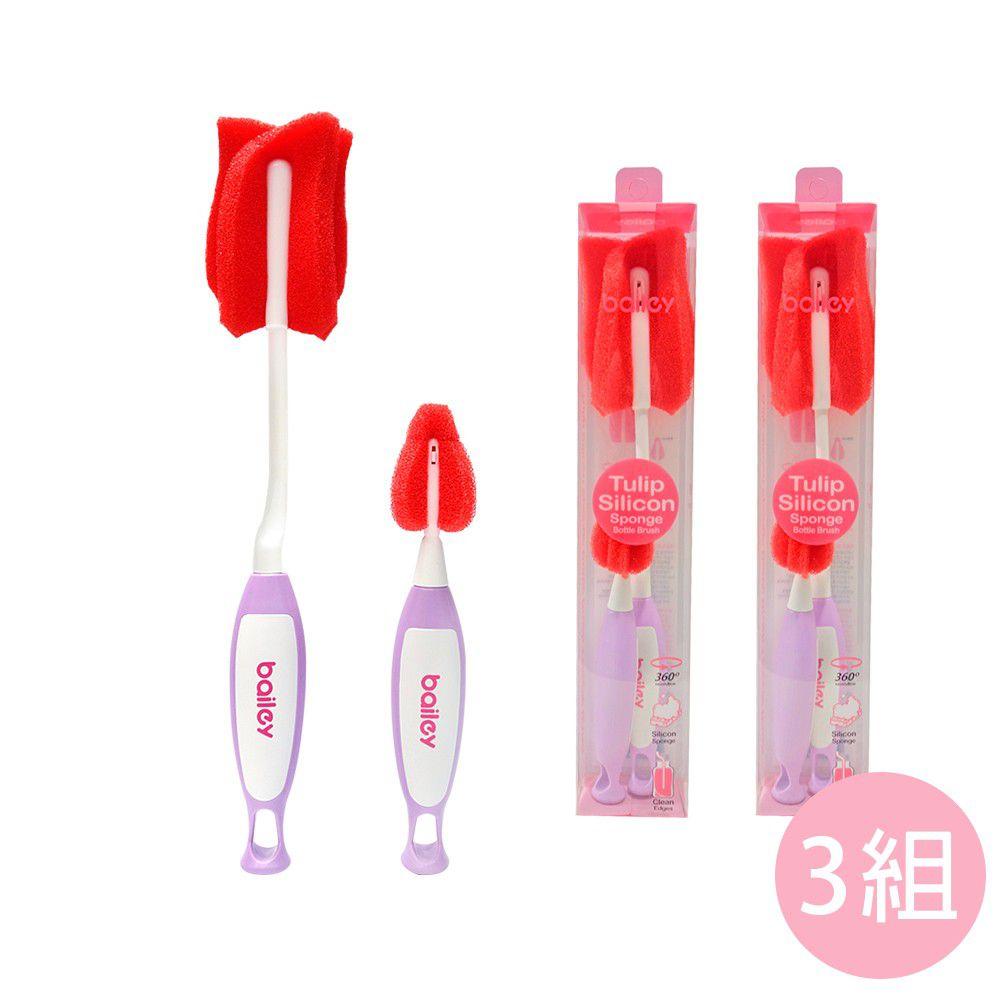 韓國 BAILEY 貝睿 - 鉑金矽膠海綿奶瓶刷 x3組-附奶嘴刷