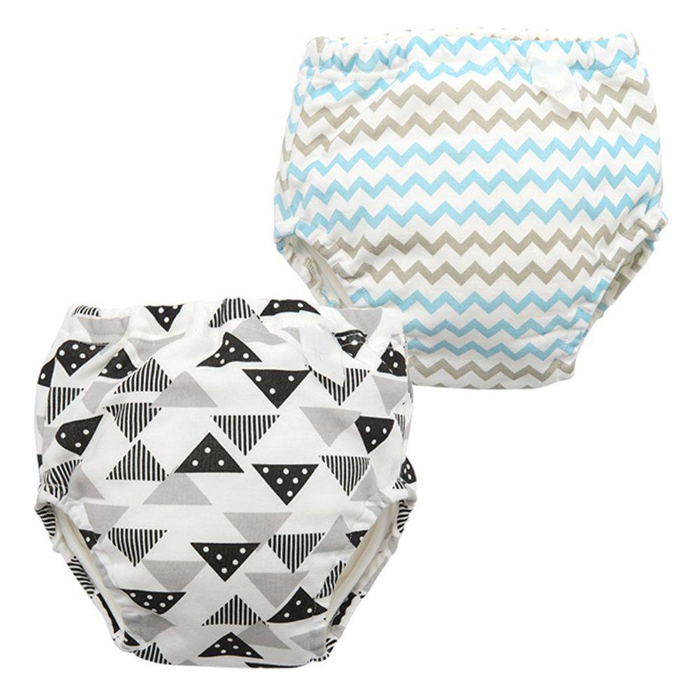 日本 Chuckle Baby - 四層學習褲(兩件組)-鋸齒線條+三角形-灰+白-分離式