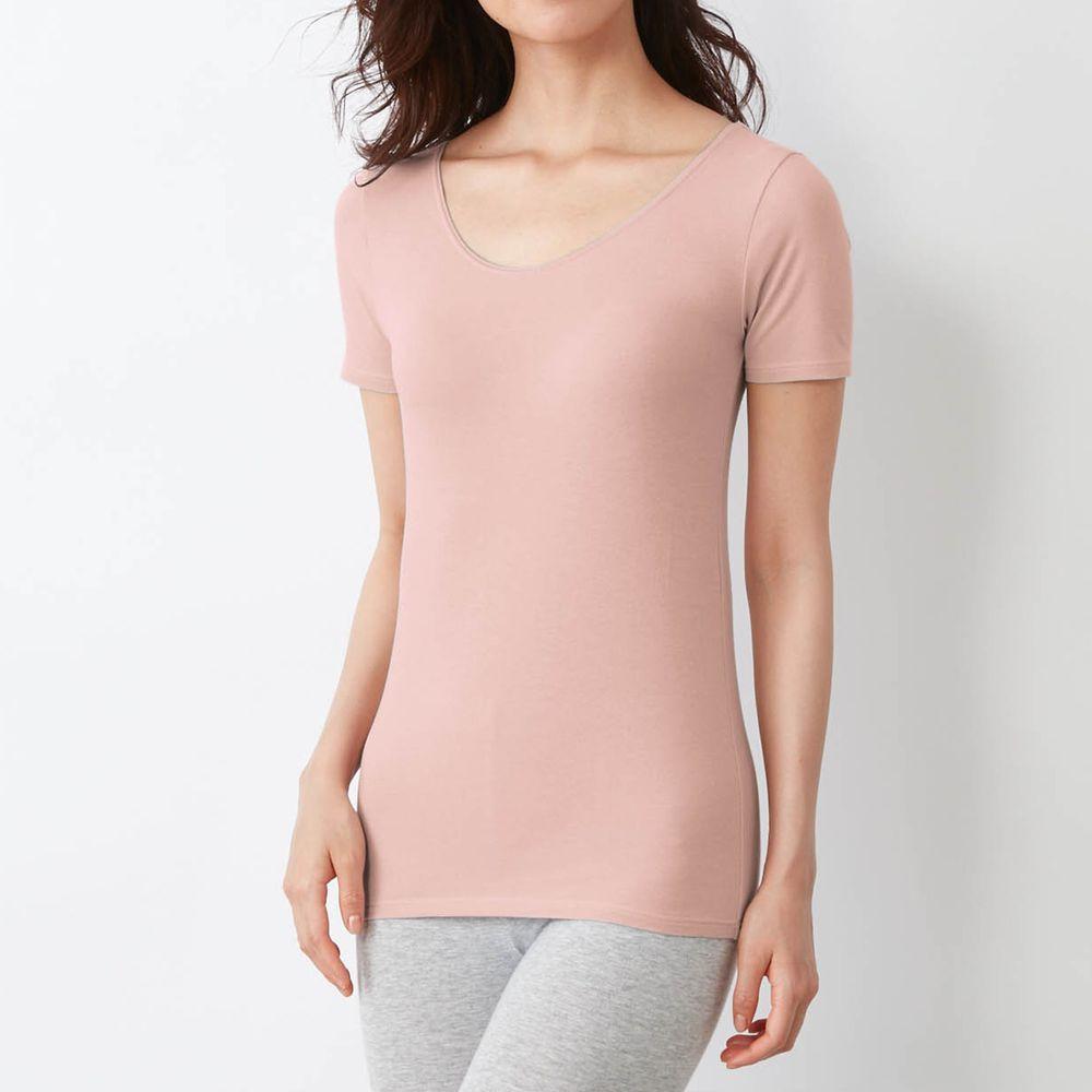 日本千趣會 - 95%棉 (媽媽)換季調節短袖發熱衣-粉紅
