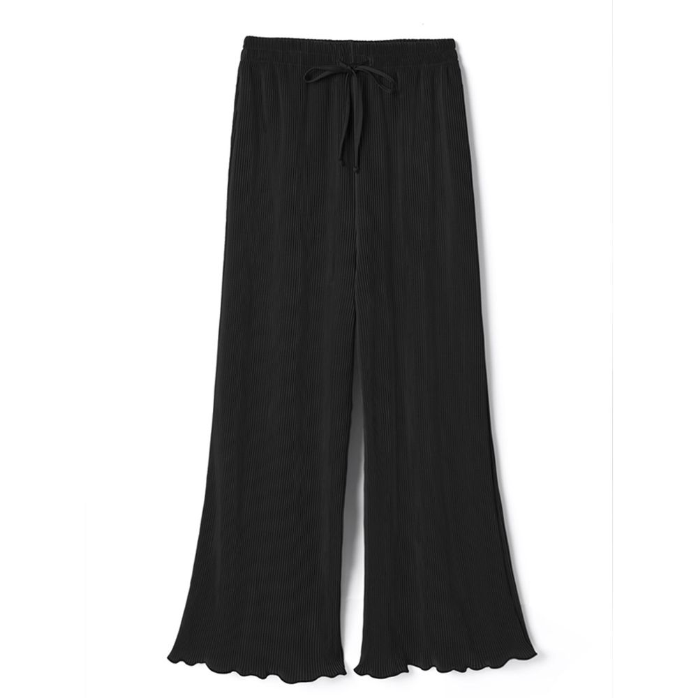 日本 GRL - 慵懶垂墜羅紋寬褲-時尚黑
