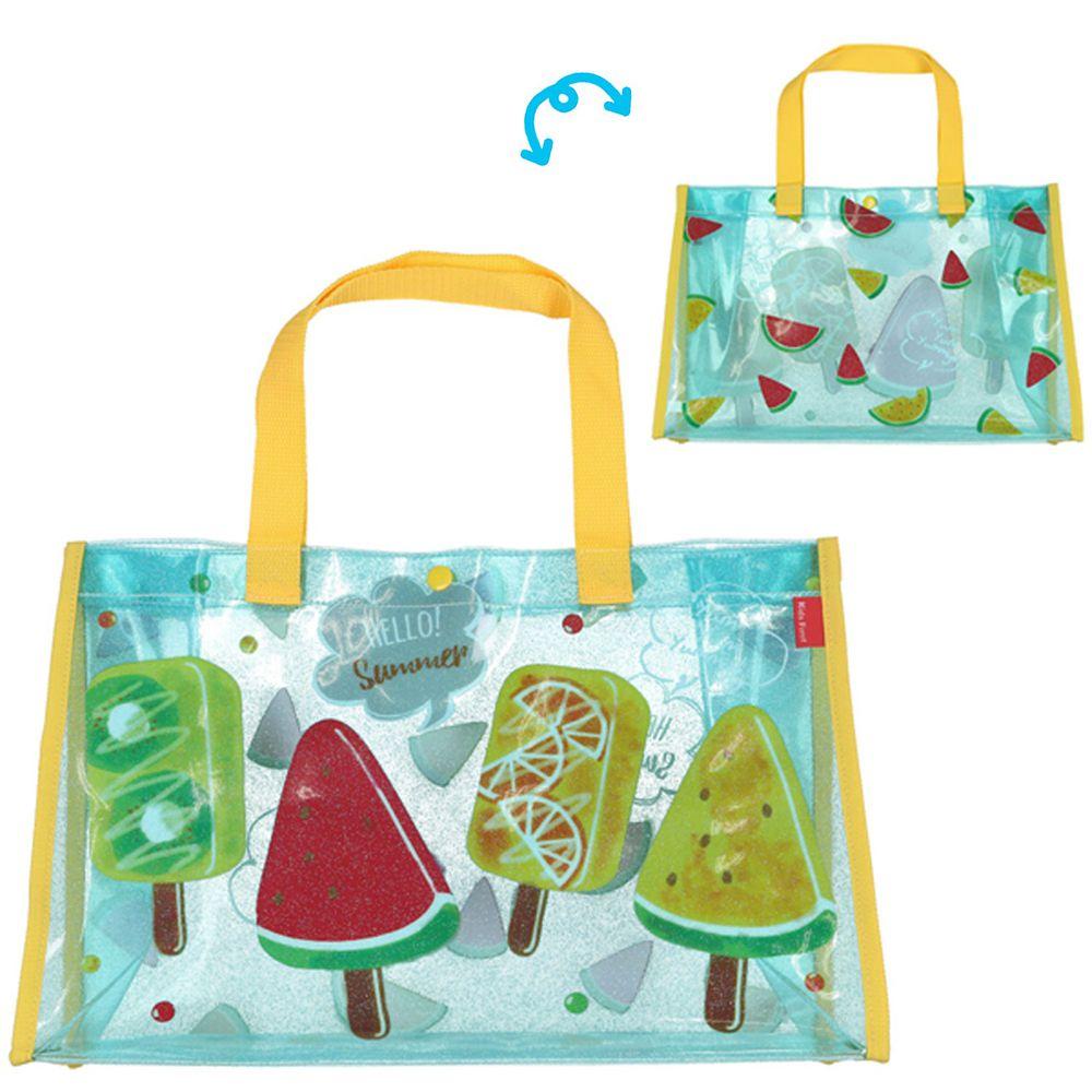 日本服飾代購 - 防水PVC游泳包(雙面圖案設計)-水果冰棒-黃X藍 (25x36x13cm)