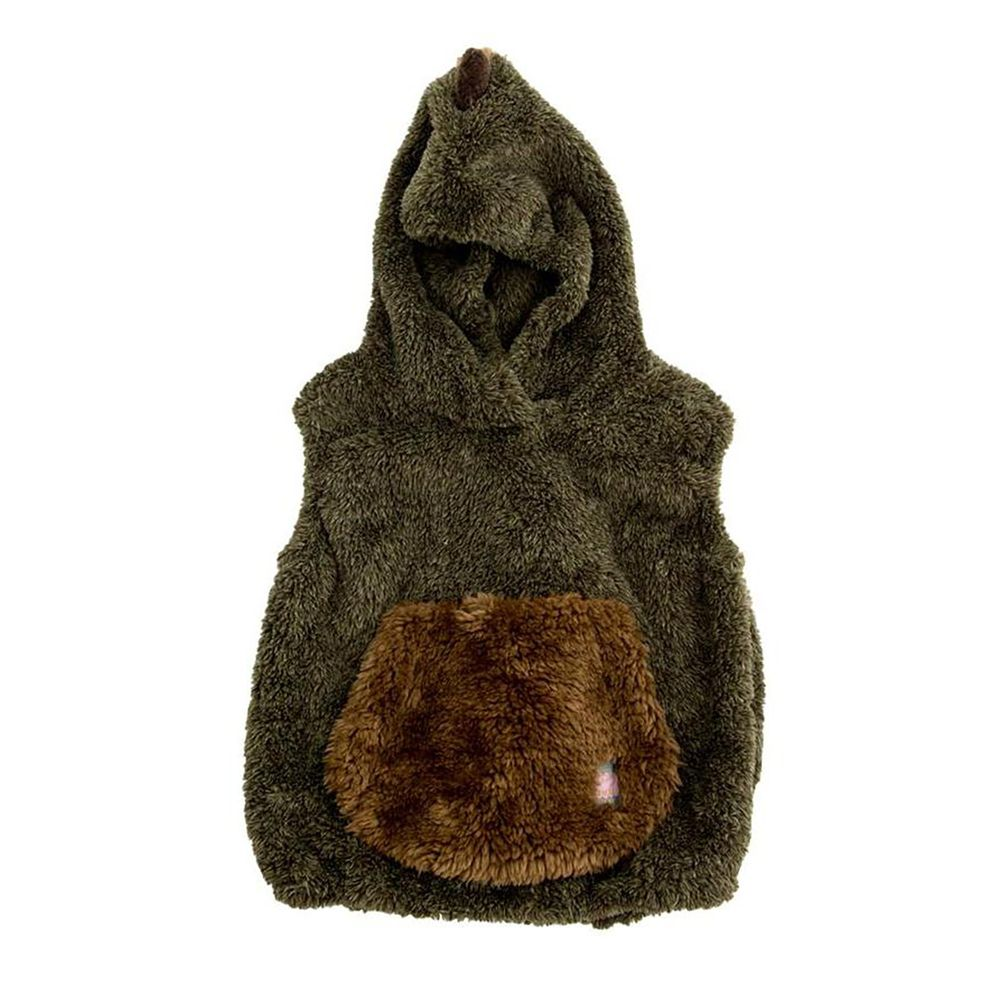 日本 BISQUE - 動物造型連帽超柔軟保暖背心-恐龍-墨綠 (1.5-4y)
