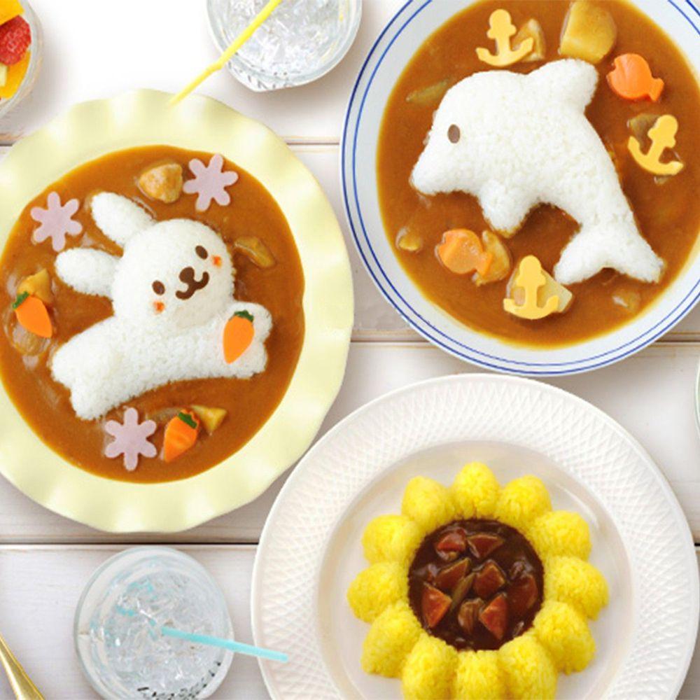 日本 Arnest - 米飯模具組-兔子海豚向日葵-1份約130g飯量