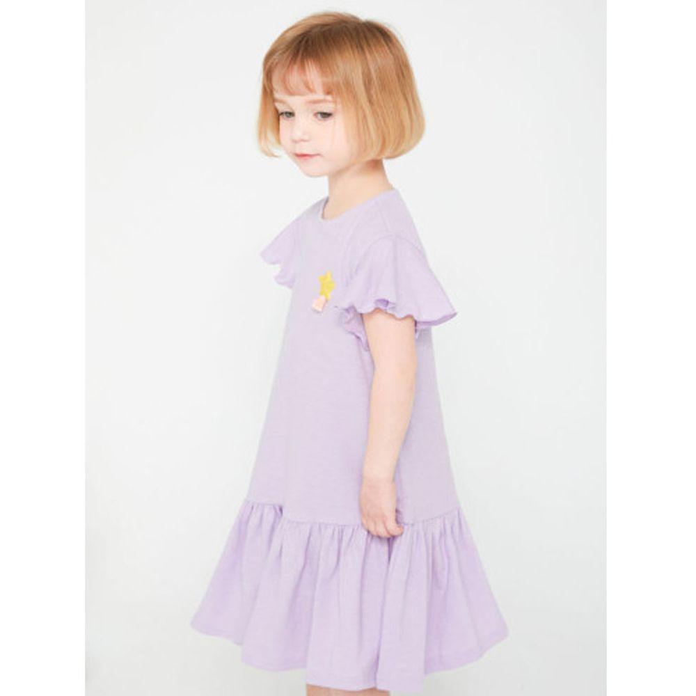 韓國 Jelispoon - 流星荷葉袖魚尾洋裝-淺紫
