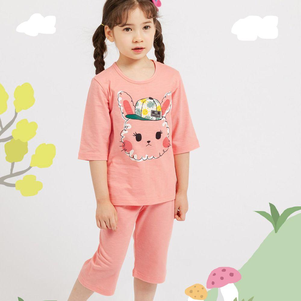 韓國 Mellisse - 韓製極致細柔7分袖家居服(無螢光棉)-去郊遊的小粉兔