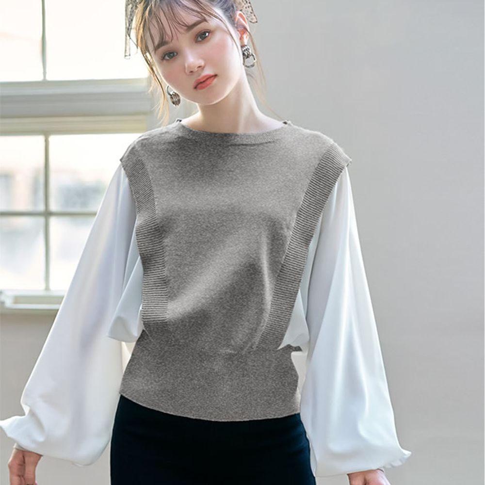 日本 GRL - 異材質拼接雪紡X針織澎袖長袖上衣-灰