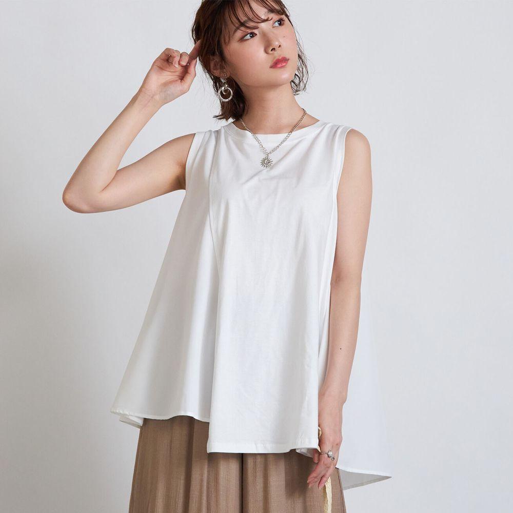 日本 Rejoule - 純棉不規則剪裁層次感無袖上衣-白 (M(Free size))