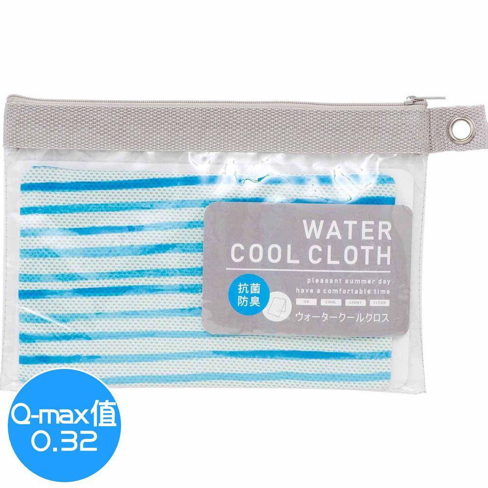 日本小泉 - UV cut 90% 水涼感巾(附收納袋)-水藍條紋 (30x90cm)