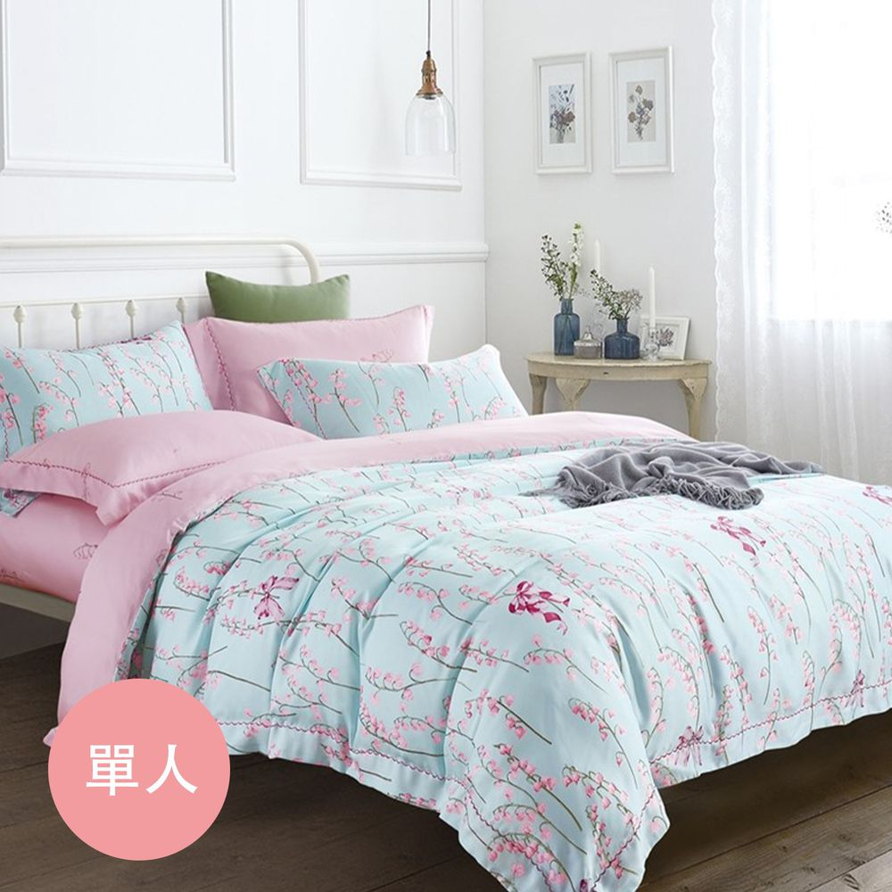 飛航模飾 - 裸睡天絲鋪棉床包組-嫻花(單人鋪棉床包兩用被三件組) (單人3.5*6.2尺)