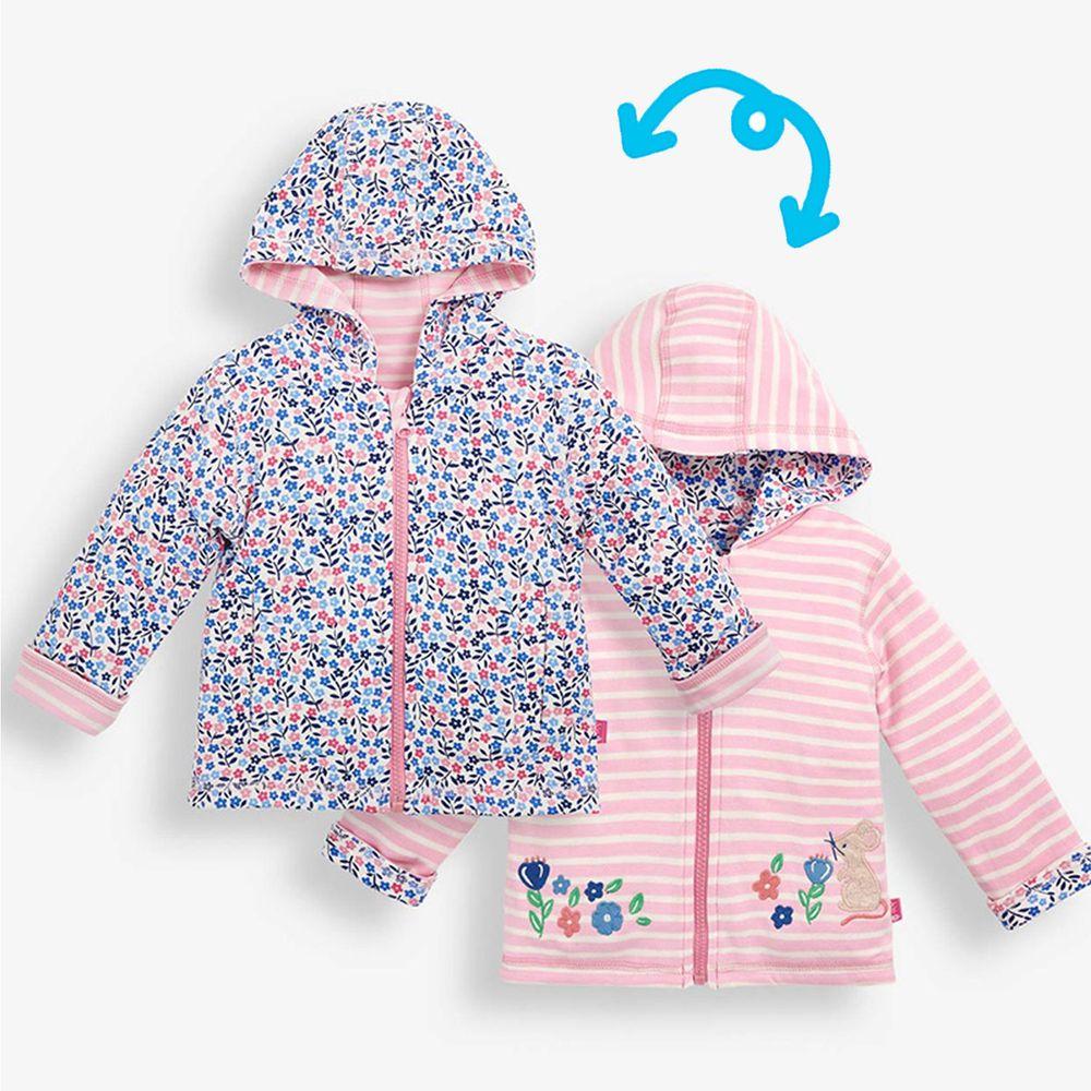 英國 JoJo Maman BeBe - 雙面穿100%純棉保暖連帽外套-花花鼠