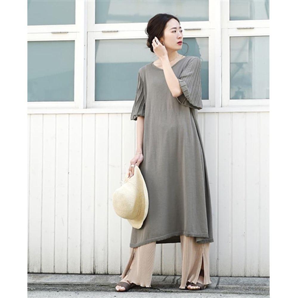 日本 zootie - 涼感防曬速乾 顯瘦羅紋五分袖洋裝-墨綠 (F)