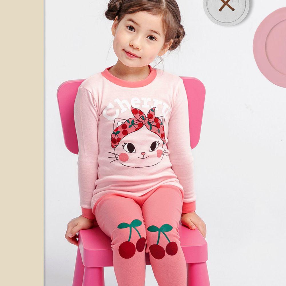 韓國 Mellisse - 韓製30支無螢光棉長袖家居服-頭巾貓咪
