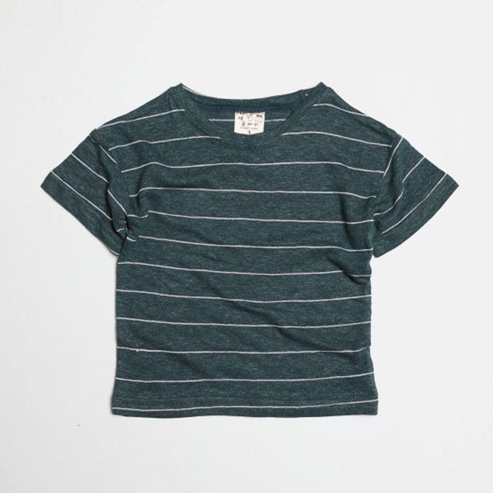 韓國製 - 棉麻簡約條紋T-墨綠