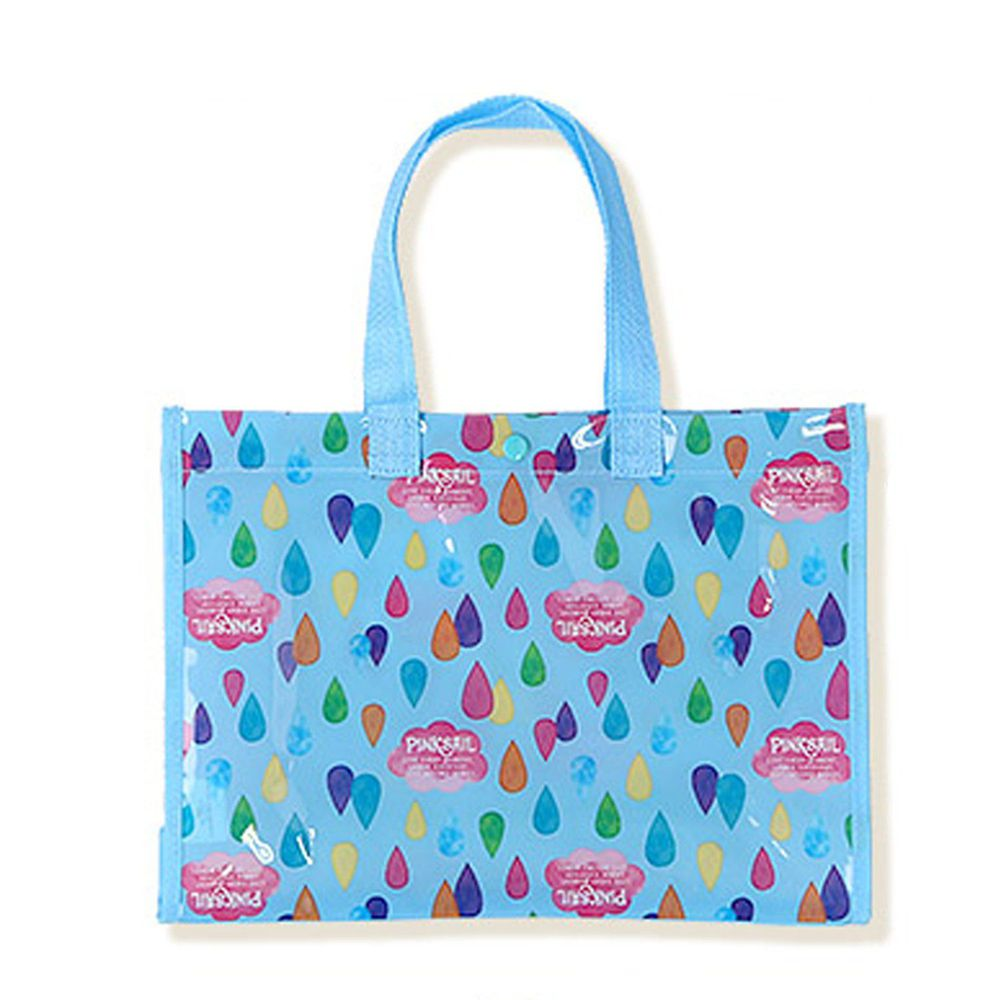 日本 ZOOLAND - 防水PVC手提袋/游泳包-G彩虹雨點-藍 (25x34x11cm)