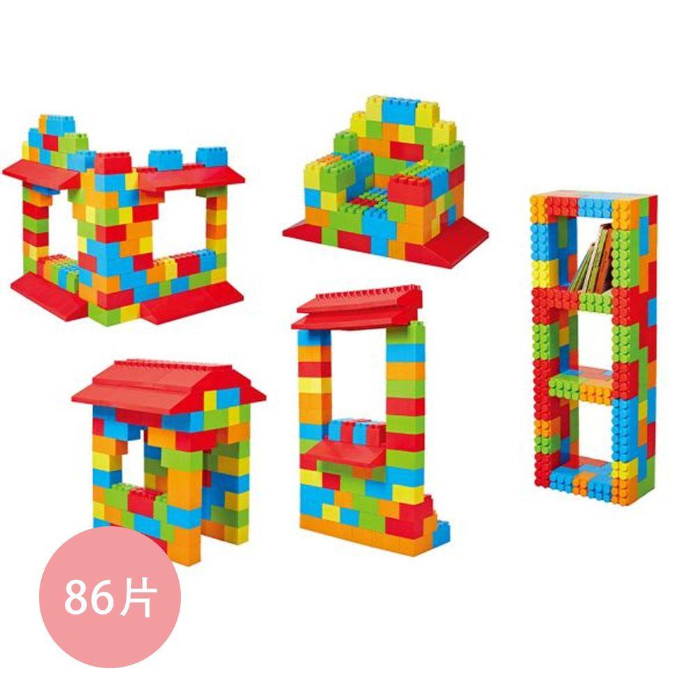 Massbricks 美斯積木 - 【進階豪華-含屋簷積木】美斯大型積木(附可拆卸專利輪子)-86pcs