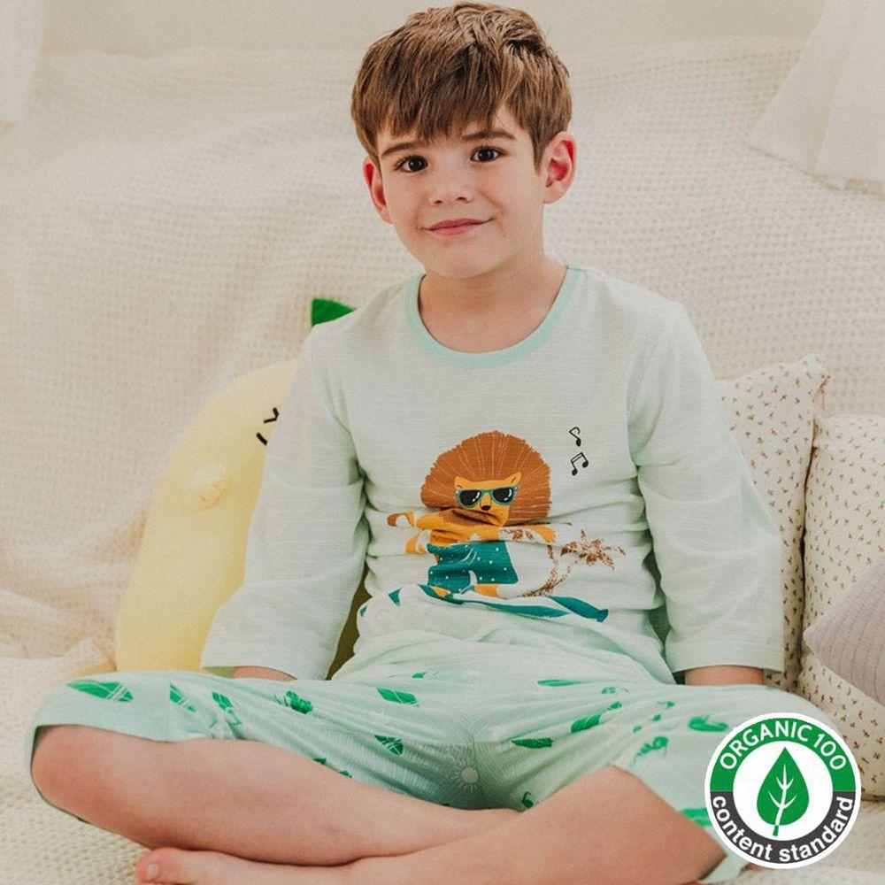 韓國 Mavarm Organic - 有機棉透氣七分袖家居服-衝浪獅子
