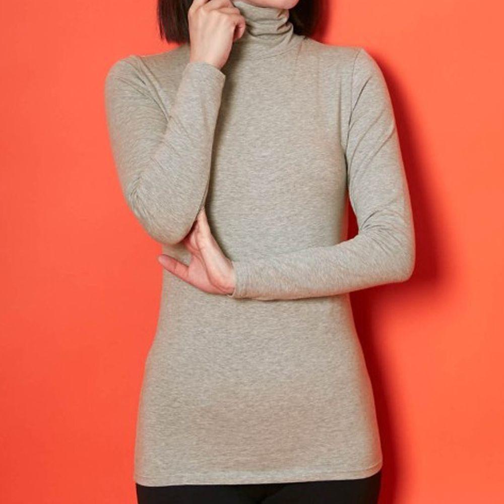 日本千趣會 - 95%棉 (媽媽)高領十分袖發熱衣-淺灰