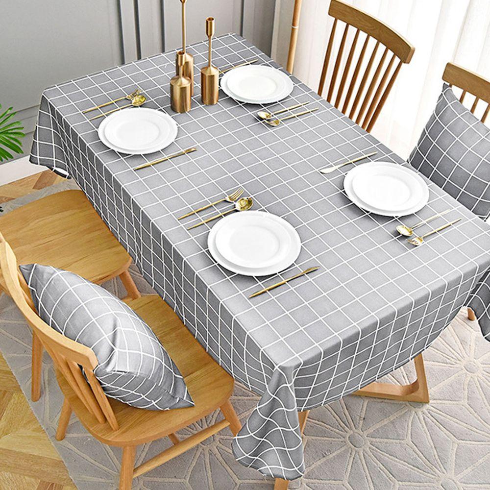 防水防油免洗桌布-簡約格紋-灰色