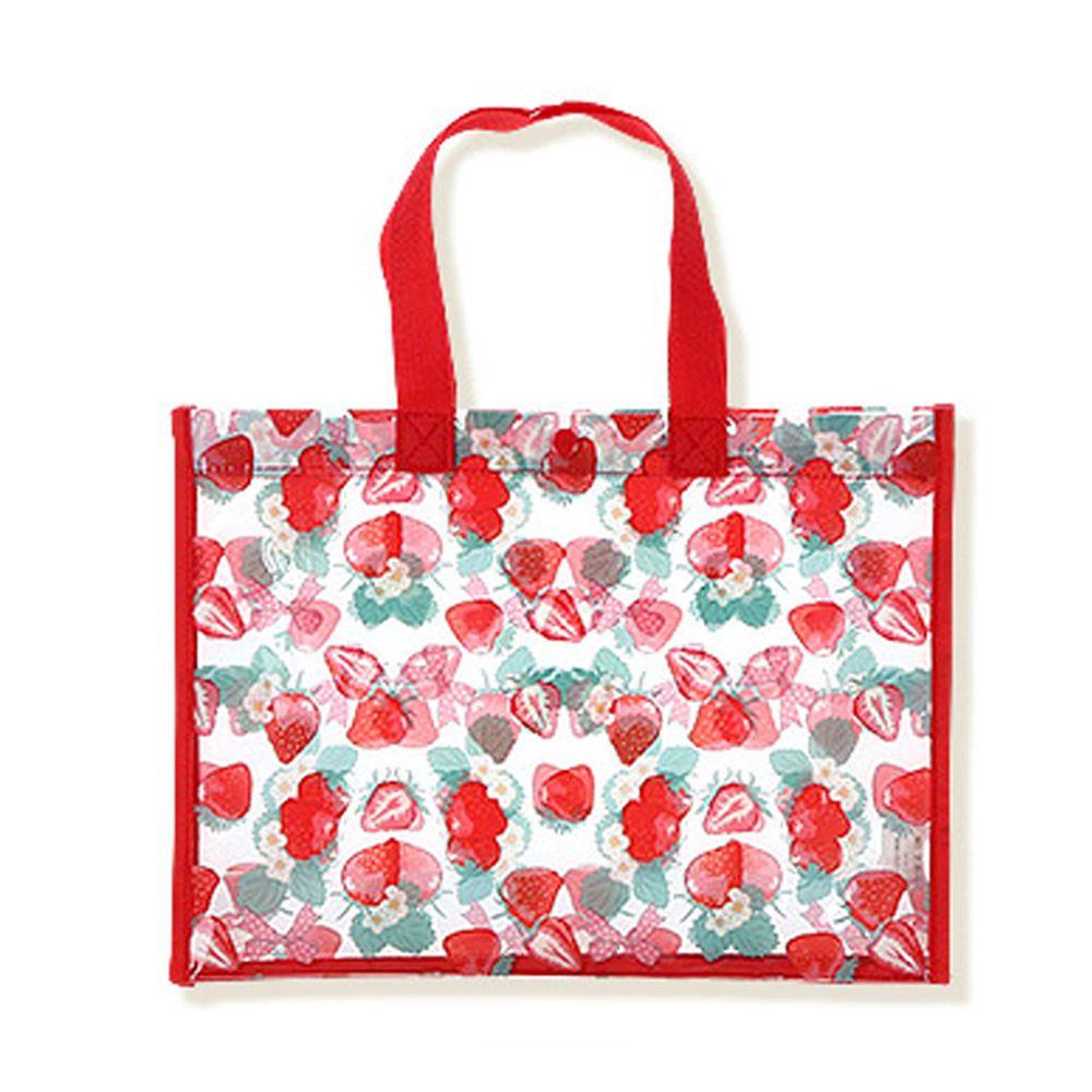 日本 ZOOLAND - 防水PVC手提袋/游泳包-B草莓世界-紅 (25x34x11cm)