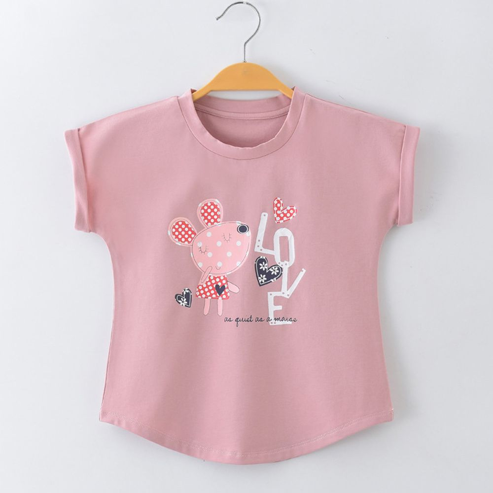 FitUrBabe - 彈力棉質短袖上衣-戀愛小老鼠-粉色