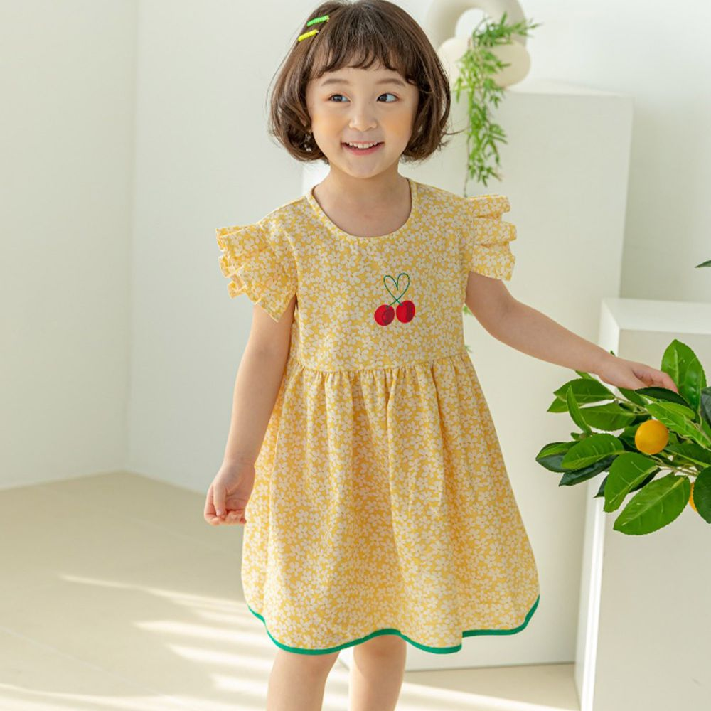 韓國 Orange Mom - 櫻桃碎花洋裝-黃