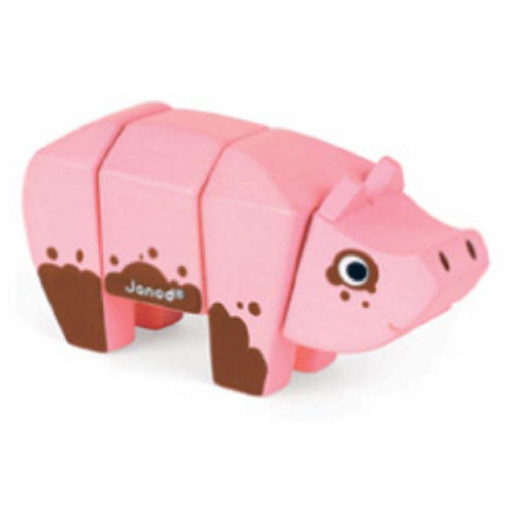 Janod - 立體動物拼-豬