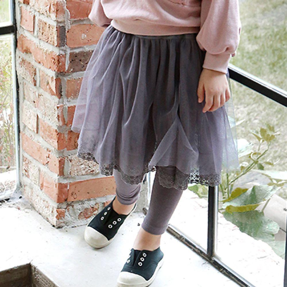 韓國 PuellaFLO - 米字鏤空下襬網紗褲裙-灰紫
