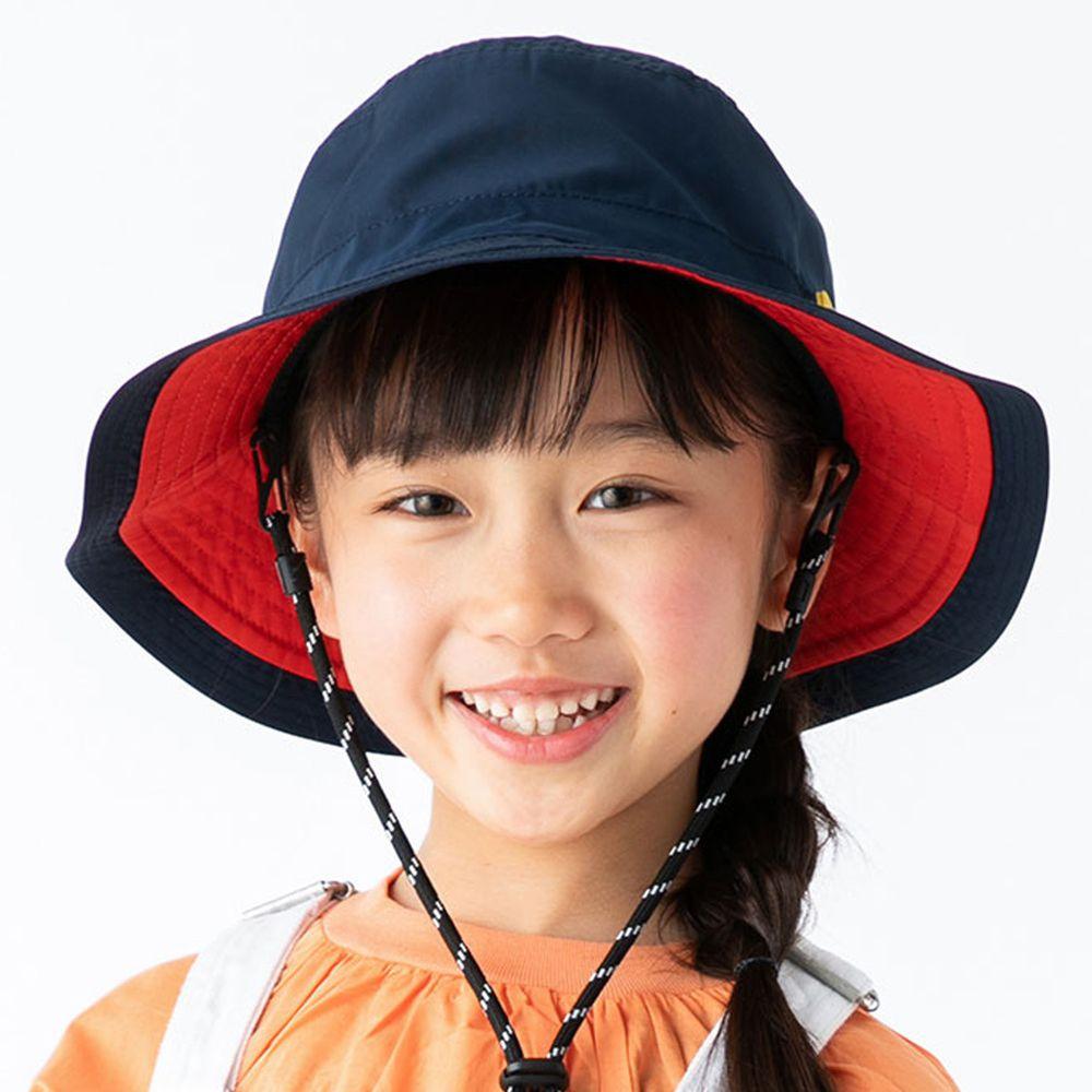 日本服飾代購 - 【irodori】抗UV可捲收防潑水遮陽帽(附防風帽帶)-兒童款-深藍X紅內裏 (54cm)