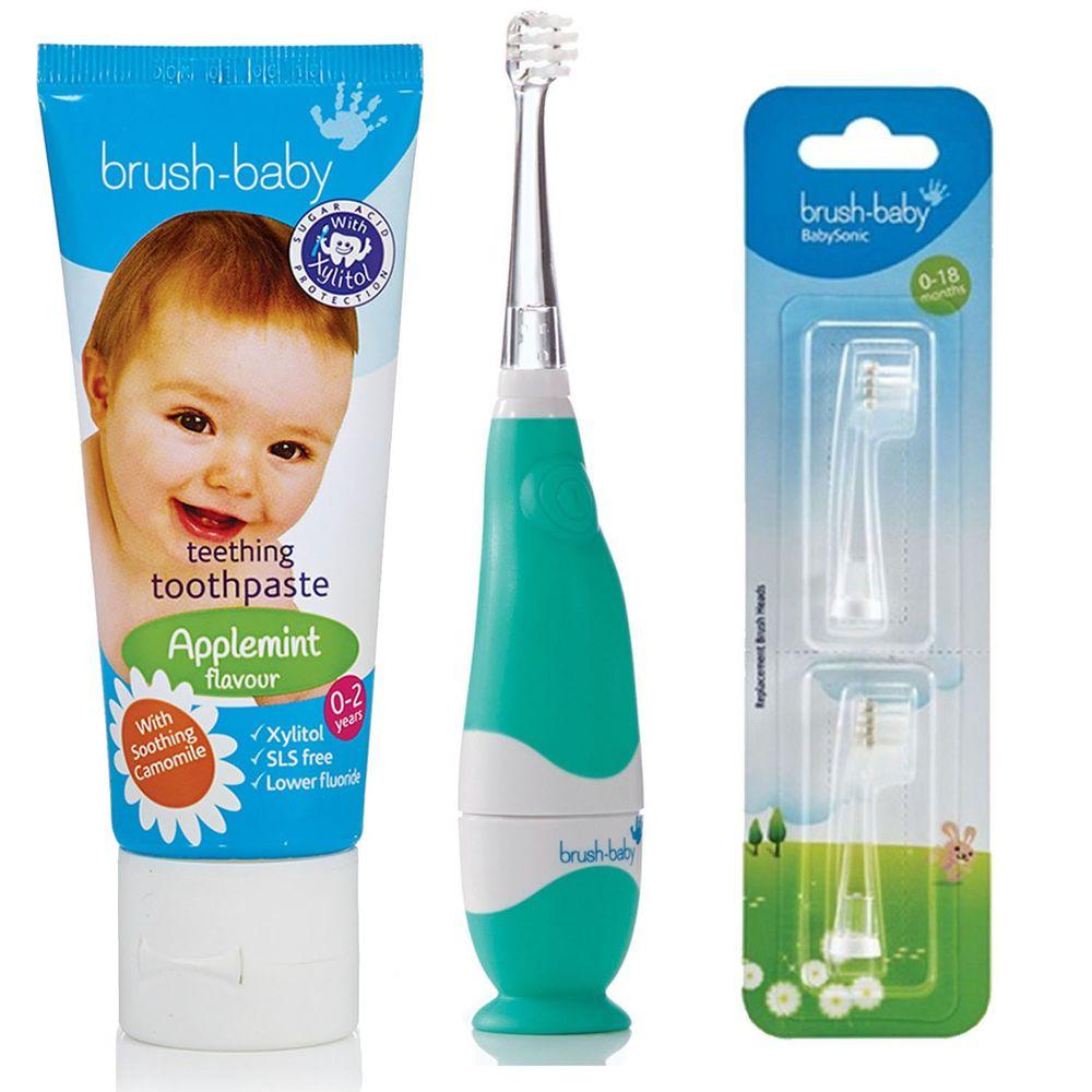 英國 brush-baby - 嬰幼兒聲波電動牙刷(0-3歲用)+寶寶木糖醇牙膏(天然洋甘菊/50ml)-0-2歲用+替換刷頭2入(0-18M)-含氟量 1000ppm