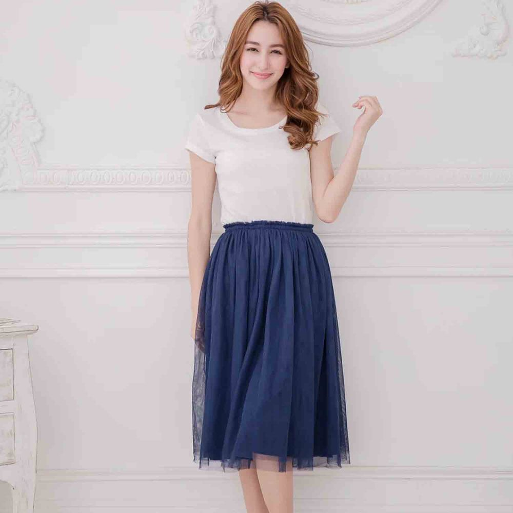 Peachy - 獨家訂製綿柔半身紗裙-半身中長版-午夜藍 (F)