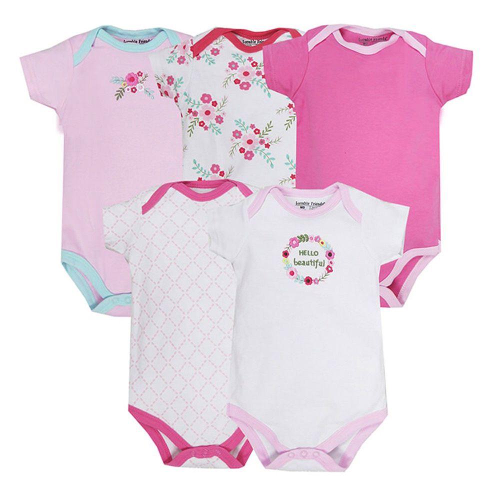 美國 Luvable Friends - 嬰幼兒短袖包屁衣5件組-小花圖騰