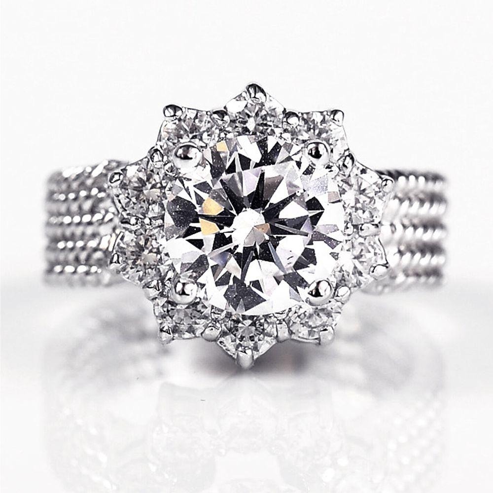 美國ILG鑽飾 - Extremely moving 極致動人 3克拉美鑽戒指-頂級美國ILG鑽飾,媲美真鑽亮度的鑽飾-加贈高級珠寶級絨布盒1個-外國抗敏材質電鍍頂級白K金色