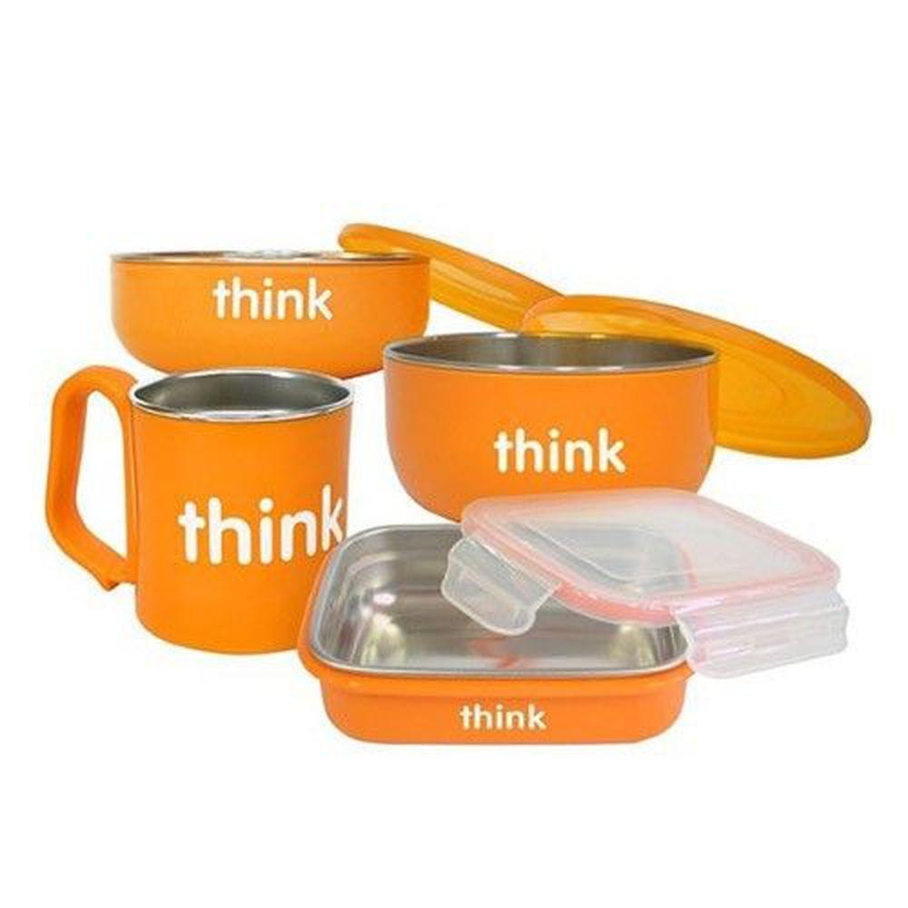 美國 Thinkbaby - 不鏽鋼餐具組-甜橙橘