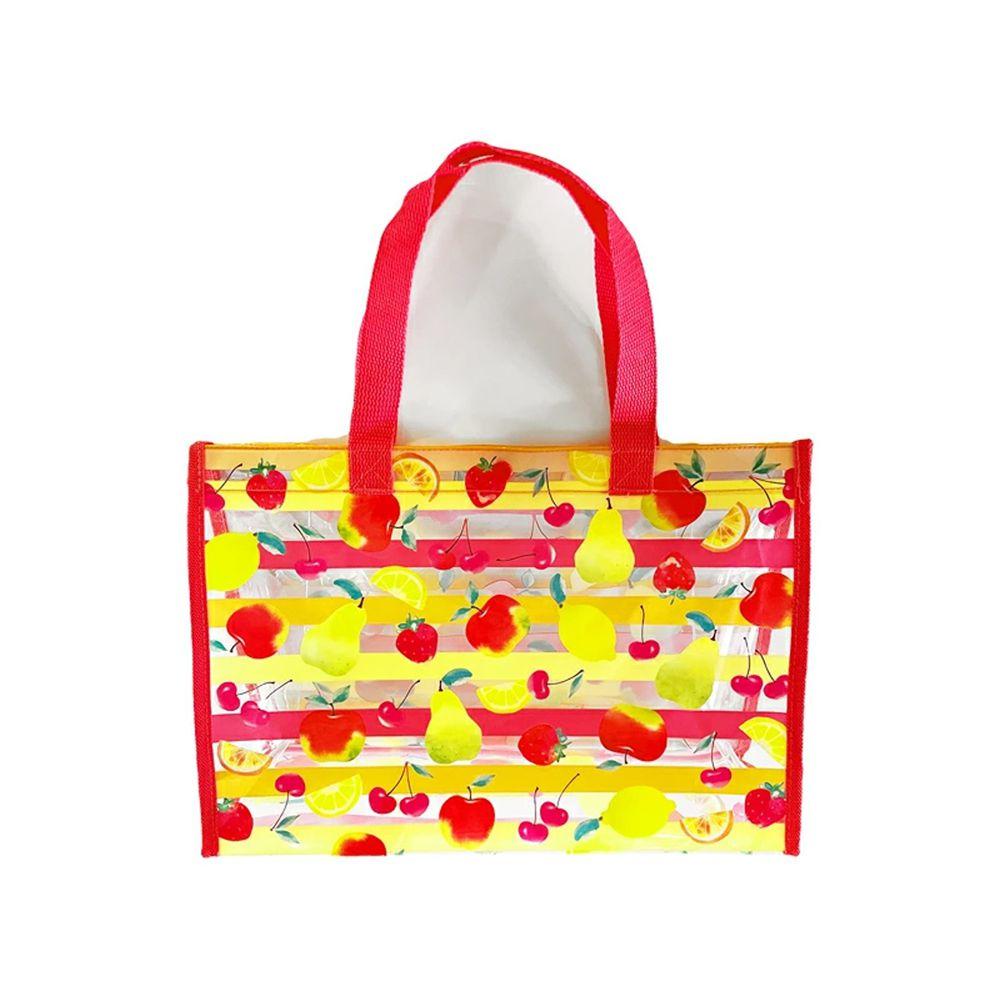 日本服飾代購 - 防水PVC游泳包(雙面圖案設計)-草莓蘋果梨子檸檬-桃粉 (25x36x13cm)