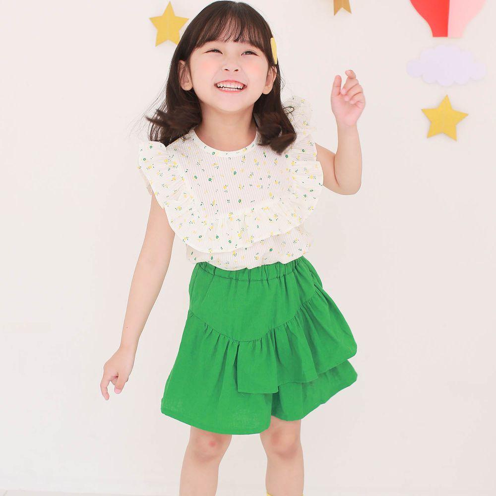 韓國 Dalla - 荷葉方領無袖上衣+不對稱荷葉褲裙套裝-花花上衣+綠裙