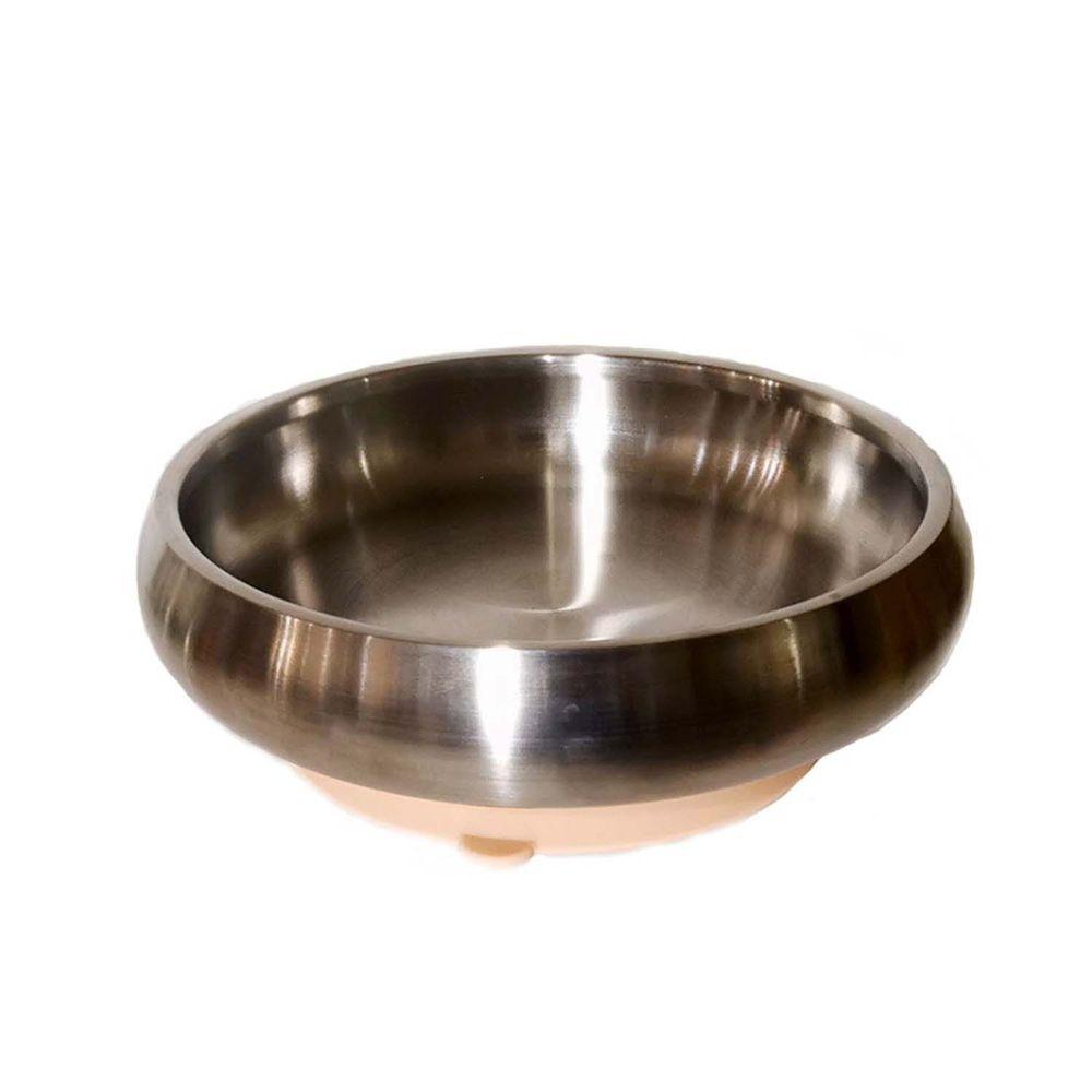 美國little.b - 316雙層不鏽鋼寬口麥片吸盤碗-暖暖橘-(碗*1, 吸盤*1)