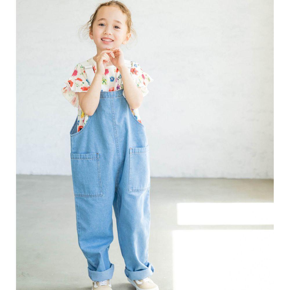 日本 PAIRMANON - 純棉雙口袋吊帶褲-天空藍