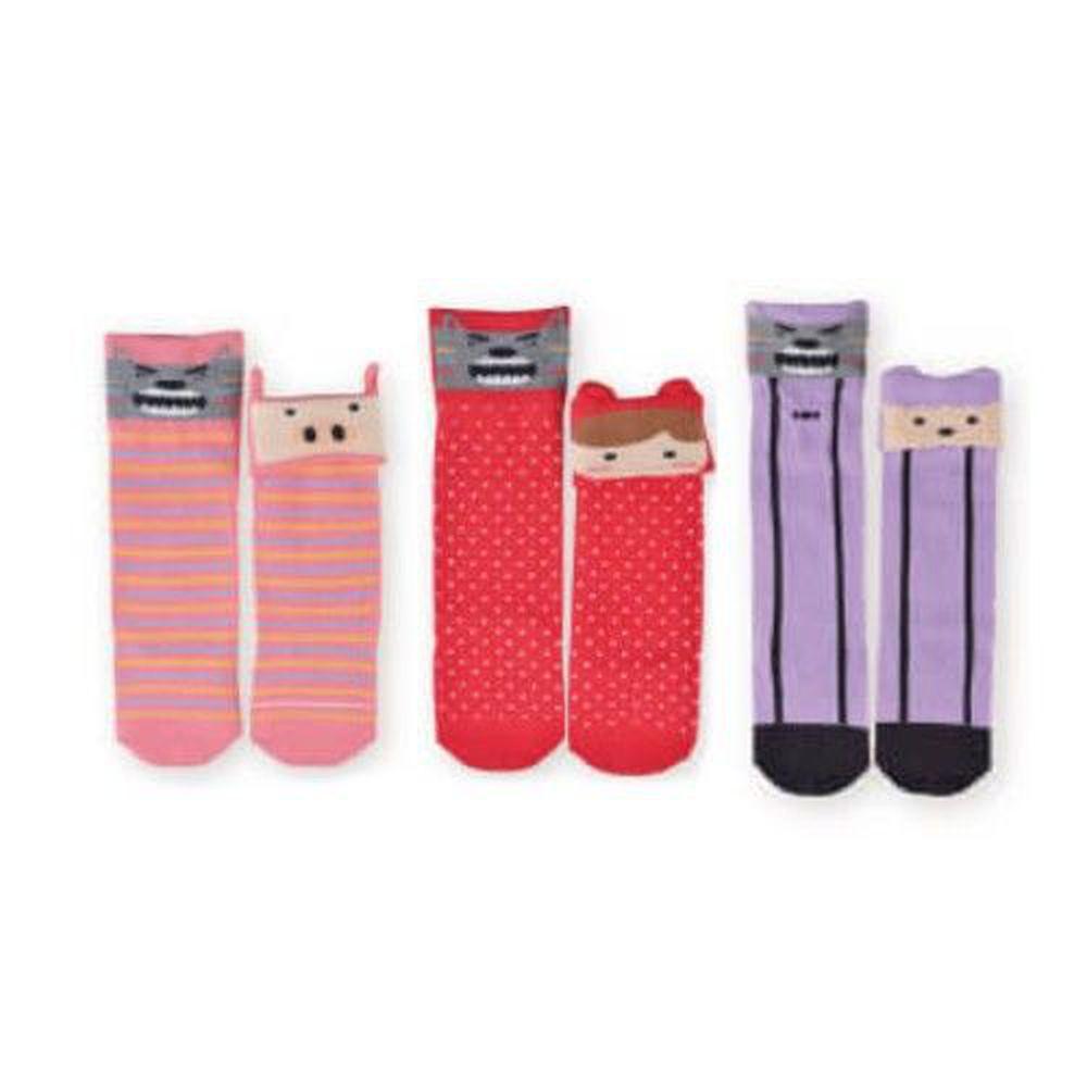 貝柔 Peilou - 貝寶童話故事寶寶襪3入組-女寶3款各1(小紅帽/三隻小豬/七小羊)-隨機色 (9~12cm)
