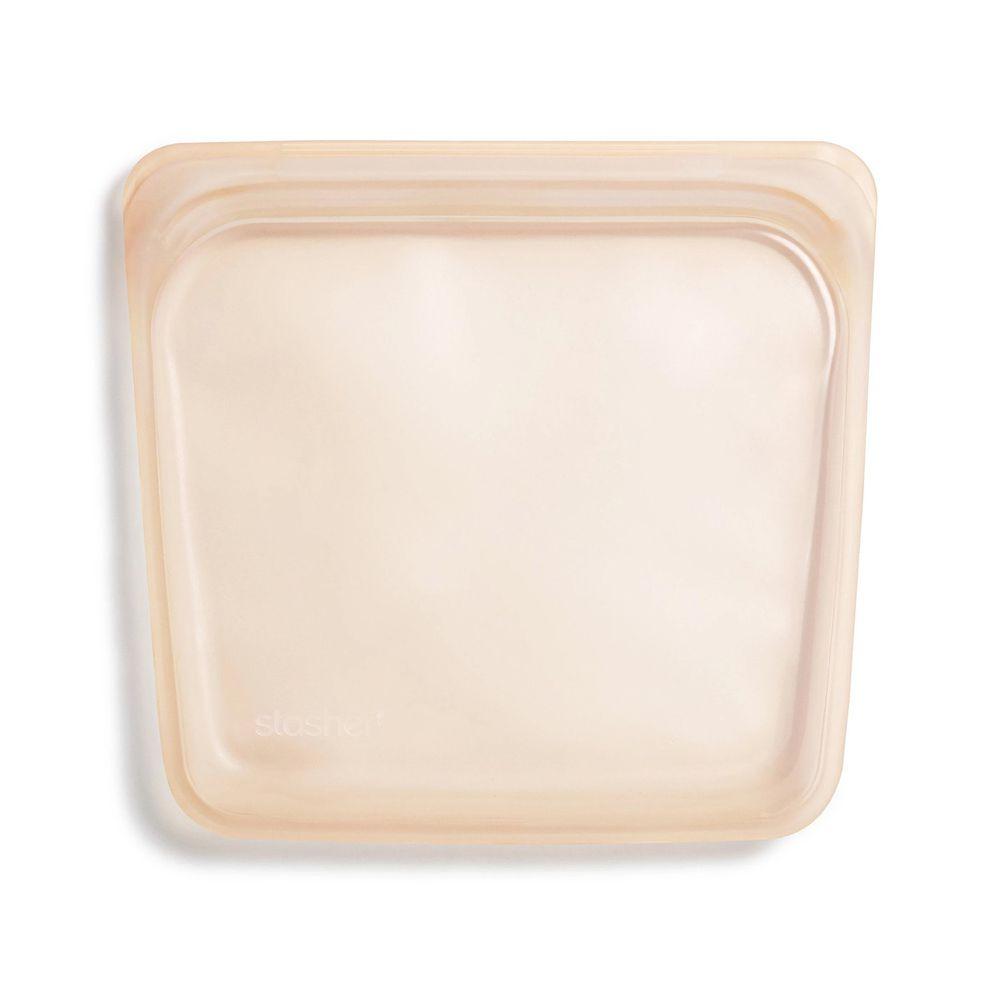 Stasher - 食品級白金矽膠密封食物袋-Sandwich方形-蜜桃粉 (443ml)