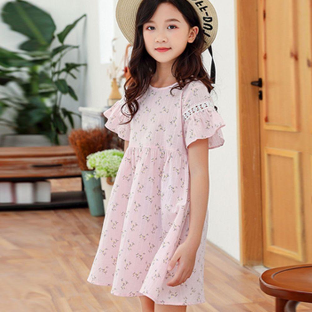 TOUNGIEE - 花園粉色喇叭袖洋裝